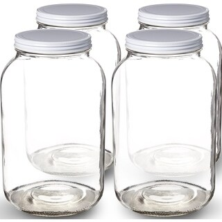 1-Gallon Glass Jar Wide Mouth with Airtight Metal LidMason Jar for Fermenting, Kombucha, Kefir, Storing and Canning Uses Clear