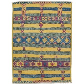 eCarpetGallery Hand-knotted Shalimar Blue, Light Gold Wool Rug - 4'2 x 5'7