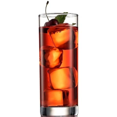 Italian Highball Glasses 6pc Clear Heavy Base Tall Bar Drinking Glass for Water, Juice, Beer, Wine, Whiskey and Cocktails 13 Oz.