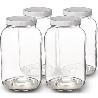 Link to 1-Gallon Glass Jar Wide Mouth with Airtight Plastic Lid - USDA Approved BPA-Free Dishwasher Safe Clear (4 Pack) - White Similar Items in Kitchen Storage