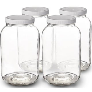 1-Gallon Glass Jar Wide Mouth with Airtight Plastic Lid - USDA Approved BPA-Free Dishwasher Safe Clear (4 Pack) - White
