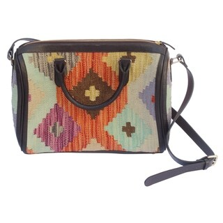 Kilim Handmade Brown/Blue Wool and Genuine Leather Tote Bag - Medium