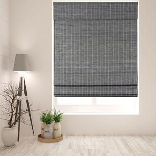 Arlo Blinds Cordless Lift Semi-Privacy Grey-Brown Bamboo Roman Shades with 60 Inch Height