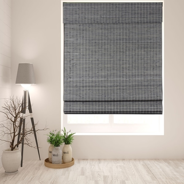Arlo Blinds Semi-Privacy Grey-Brown Bamboo Roman Shades with 60 Inch Height. Opens flyout.