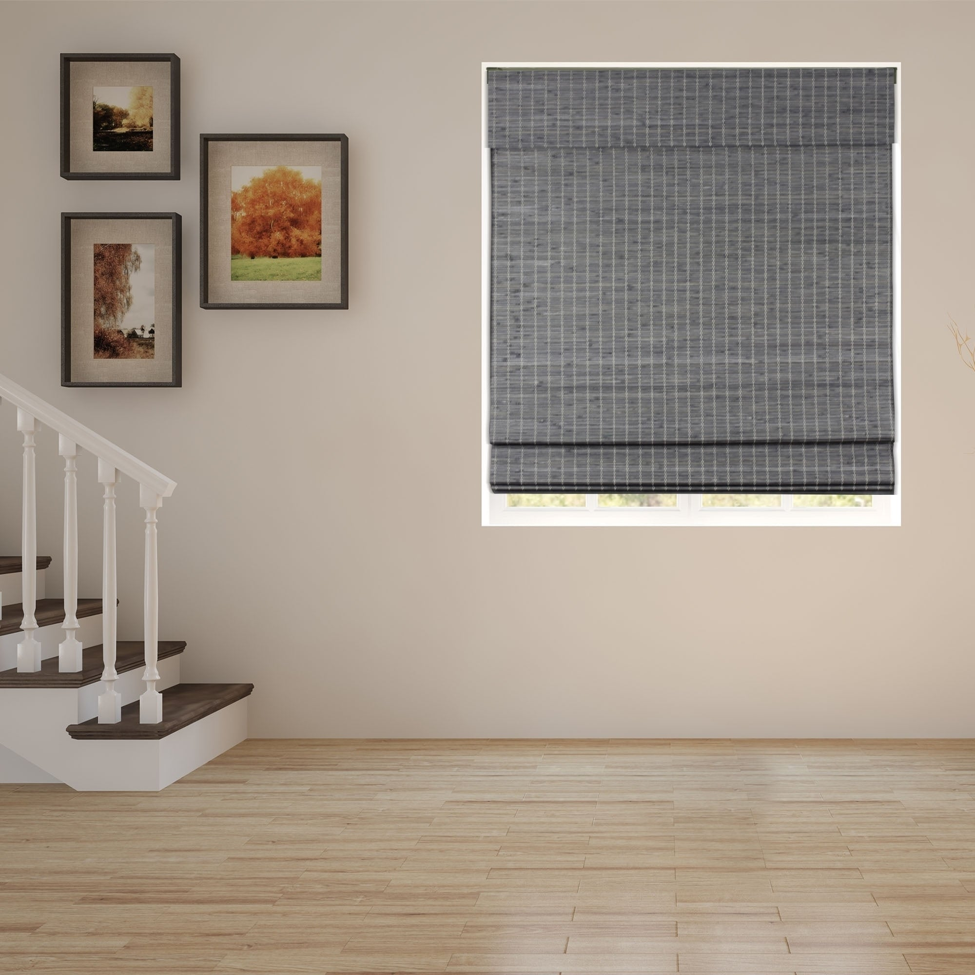 Arlo Blinds Semi Privacy Grey Brown Bamboo Roman Shades With 60 Inch Height Overstock 20956034