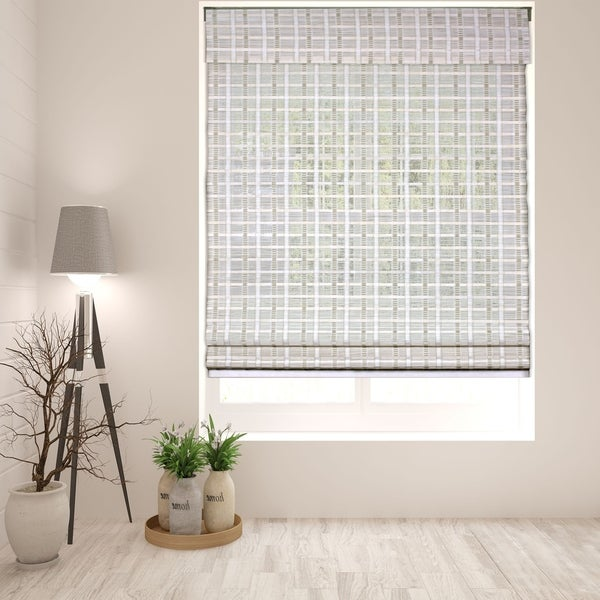 Arlo Blinds Cordless Lift Whitewash Bamboo Roman Shade with 60 Inch Height. Opens flyout.