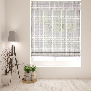 Arlo Blinds Cordless Lift Whitewash Bamboo Roman Shades with 60 Inch Height