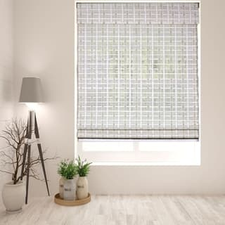 Arlo Blinds Cordless Lift Whitewash Bamboo Roman Shade with 60 Inch Height