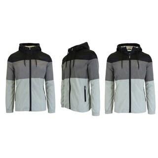 Spire By Galaxy Men's Lightweight Hooded Colorblock Windbreaker Jacket