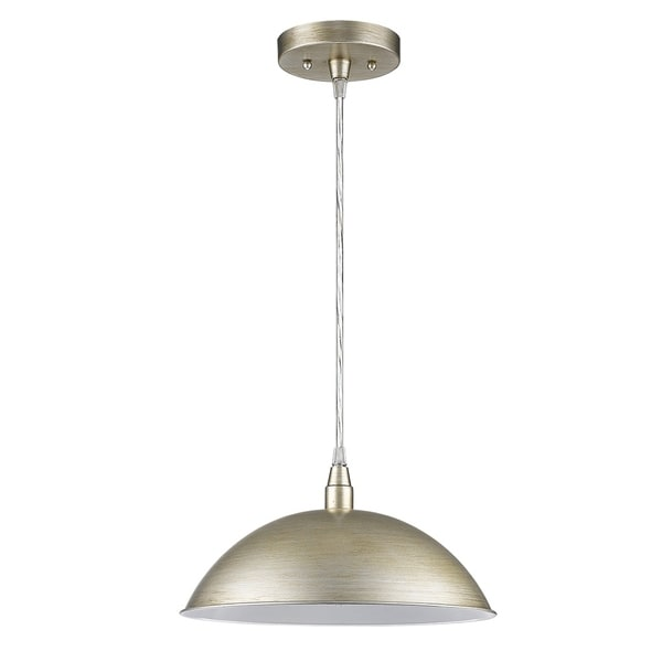 Acclaim Lighting Layla 12-inch Pendant Light with Washed Gold Exterior and White Interior