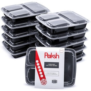 Meal Prep Lunch Containers with Super Easy Open Lids - BPA-Free, Reusable, Microwavable - (10 Pack) (3 Compartment)