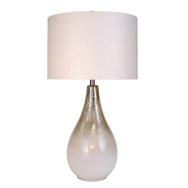 Montblanc Mercury and White Table Lamp - White Hardback Fabric Shade