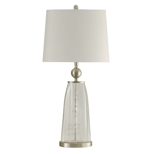 Clear Table Lamp - White Hardback Fabric Shade