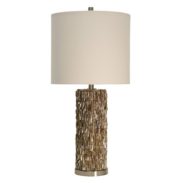 Mystic Shell Brown Steel Table Lamp - White Hardback Fabric Shade