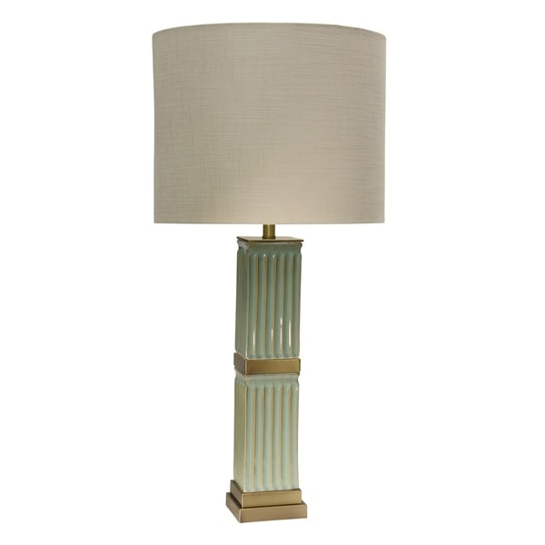 StyleCraft Tifton Ceramic Blue Table Lamp - Beige Hardback Fabric Shade