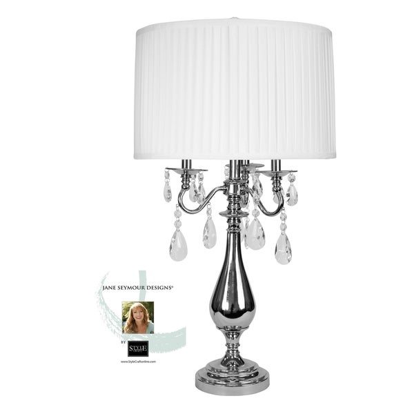 Jane Seymour Plated Nickel Table Lamp - White Faux Silk Shade