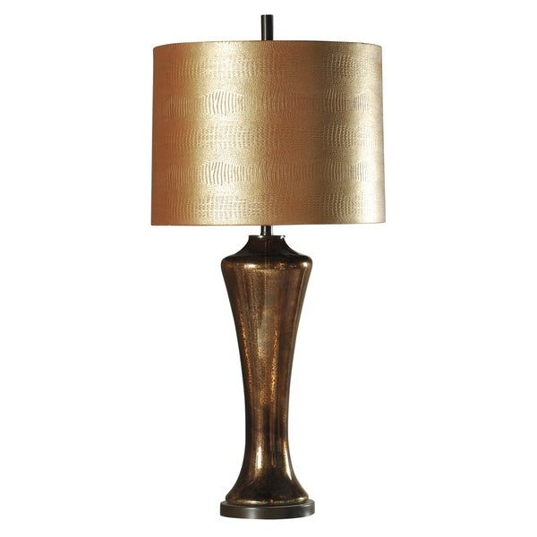 Dinsmore Dark Brown Table Lamp - Old Gold Hardback Fabric Shade