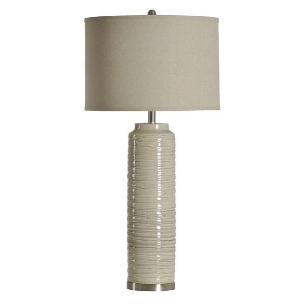 StyleCraft Ceramic Off-White Table Lamp - White Hardback Fabric Shade