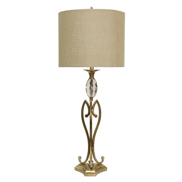 StyleCraft Champagne Silver Table Lamp - Beige Hardback Fabric Shade