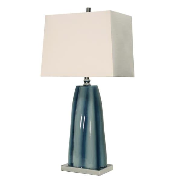 StyleCraft William Magnum Diamond Shoals Table Lamp - White Hardback Fabric Shade