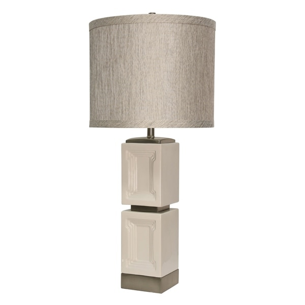 Bozeman Ceramic White Accent Table Lamp - Grey Hardback Fabric Shade