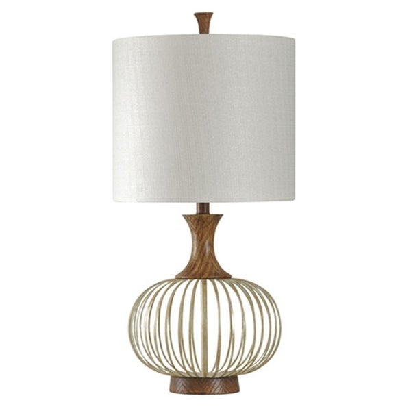 Corbin Natural Wood And Brass Table Lamp - White Hardback Fabric Shade