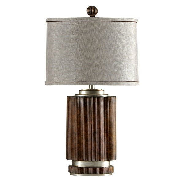 StyleCraft Winthrop Brown Table Lamp - Silver Hardback Fabric Shade