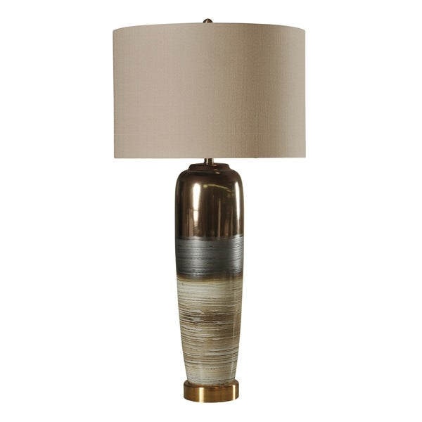 StyleCraft Morganton Ceramic White, Gray, and Gold Table Lamp - White Hardback Fabric Shade