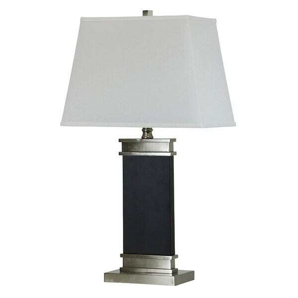 Newnan Black Steel Table Lamp - White Hardback Fabric Shade