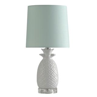 Ceramic White Table Lamp - Light Blue Shade