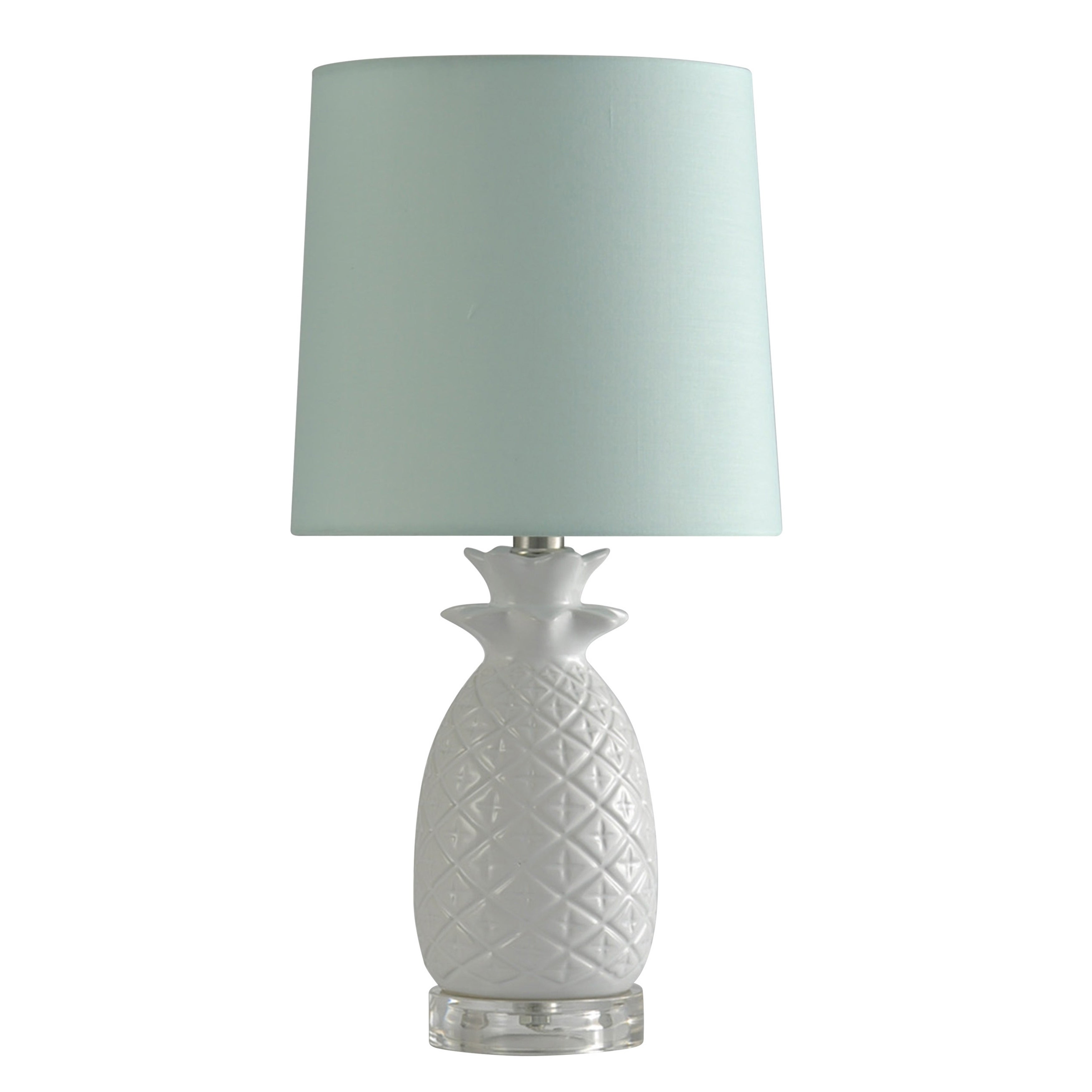 Picture of: Stylecraft Ceramic White Table Lamp Light Blue Shade Overstock 20956204