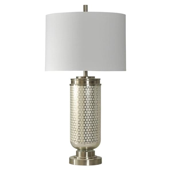 Honeycomb Stainless Steel Table Lamp - White Hardback Fabric Shade