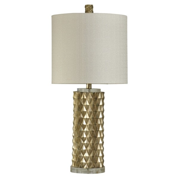 StyleCraft Devonshire Contemporary Gold Table Lamp - White Hardback Fabric Shade