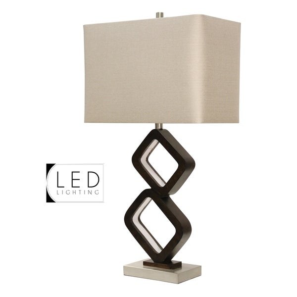 StyleCraft Walnut Ridge and Brushed Steel Table Lamp - Beige Hardback Fabric Shade