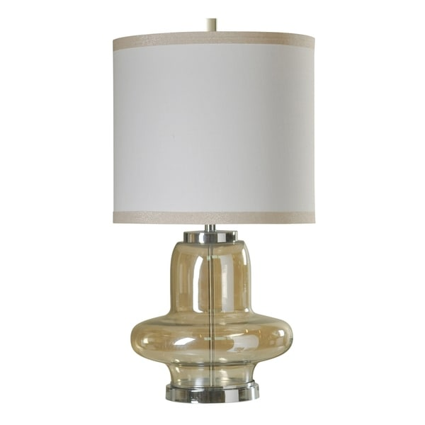 StyleCraft Elegance Accent Clear Glass and Chrome Table Lamp - White Hardback Fabric Shade