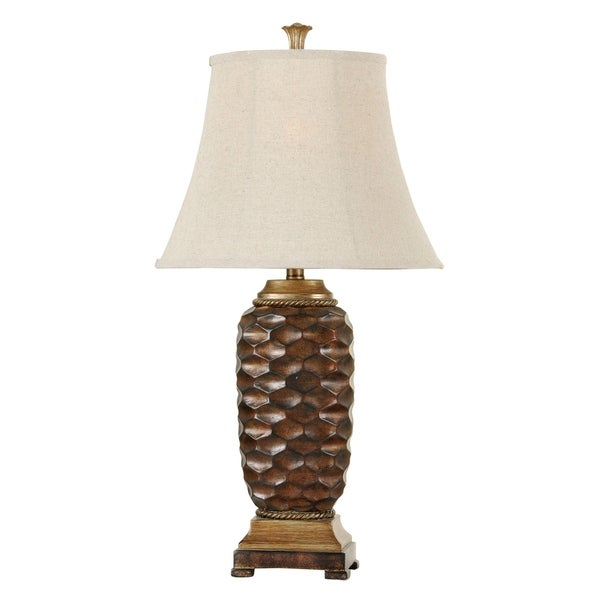 Winthrop Brown And Gold Table Lamp - White Hardback Fabric Shade