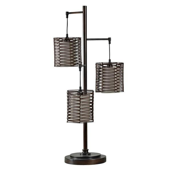 StyleCraft Contemporary Bronze Table Lamp - Brown Rattan Hardback Fabric Shade
