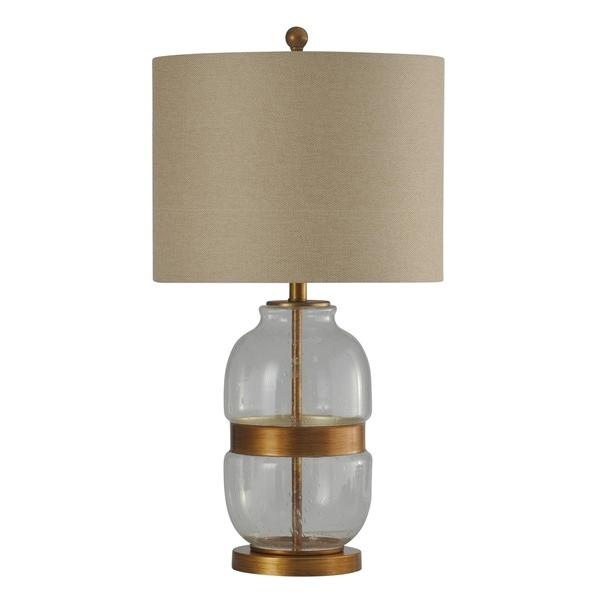 StyleCraft Midfield Glass and Gold Table Lamp - Beige Hardback Fabric Shade
