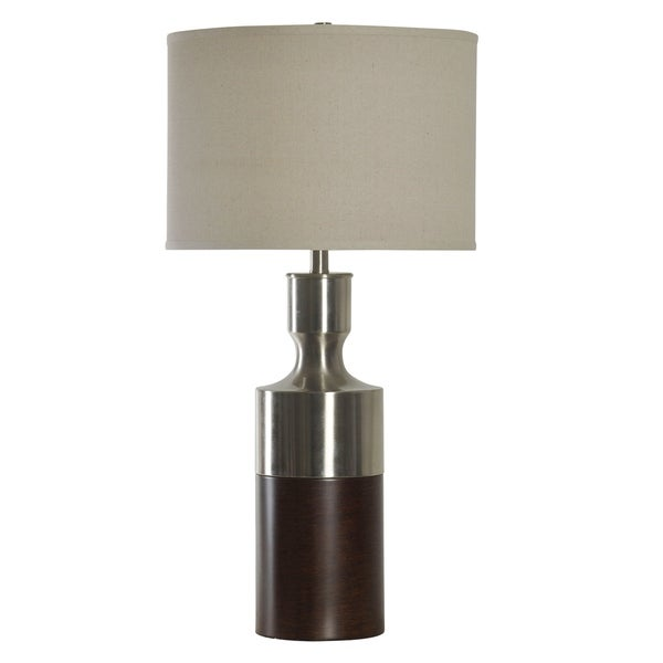Brushed Steel With Bronze Table Lamp - Beige Hardback Fabric Shade
