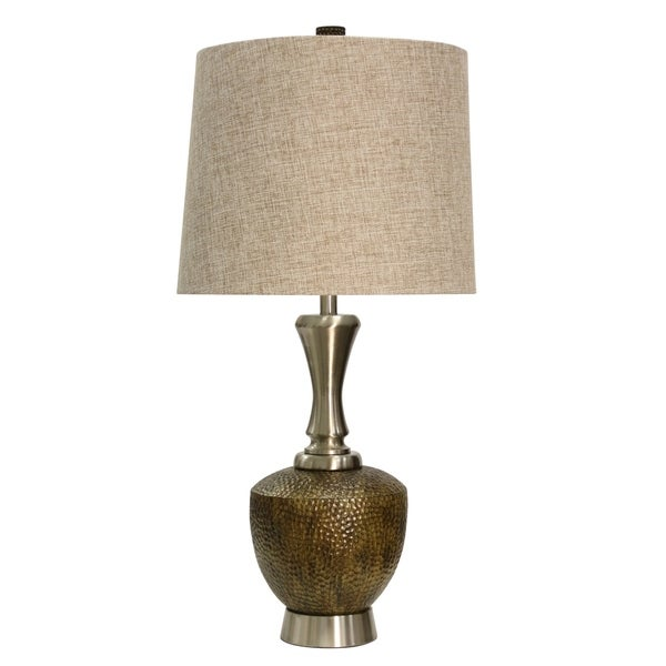 Brown And Brushed Steel Table Lamp - Beige Hardback Fabric Shade