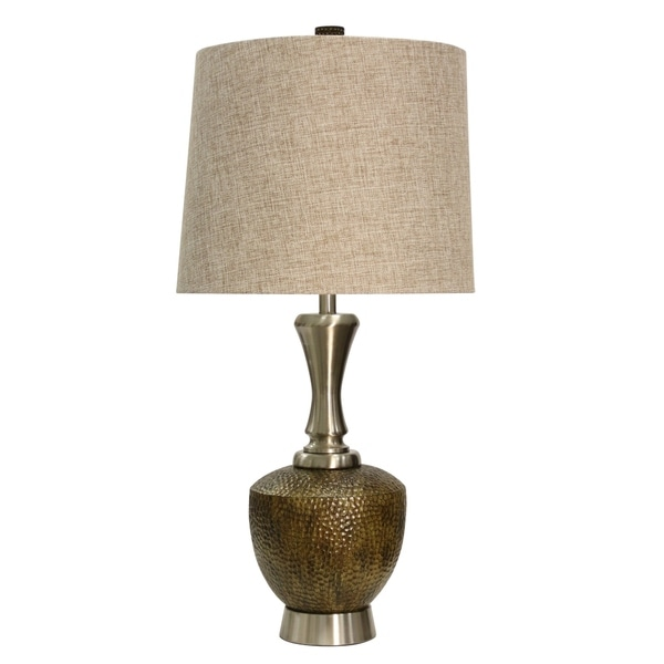 StyleCraft Brown And Brushed Steel Table Lamp - Beige Hardback Fabric Shade