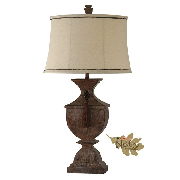 Mossy Oak Cedar Falls Table Lamp - Beige Softback Fabric Shade