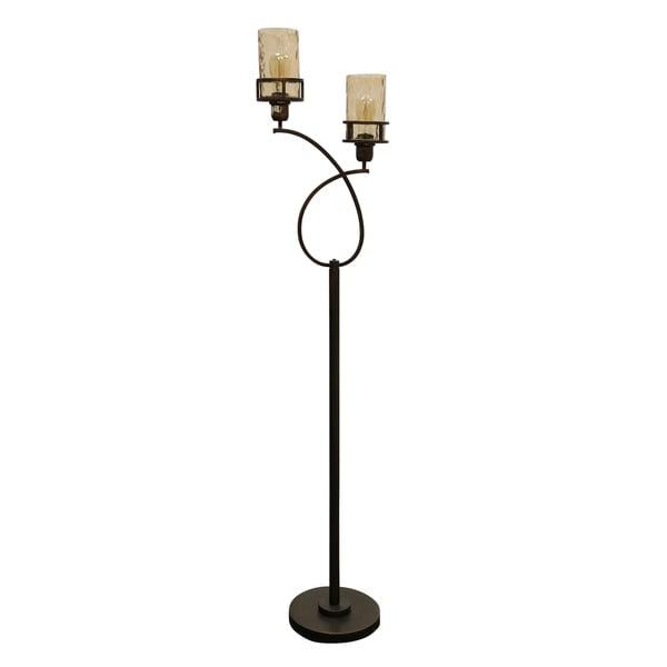 StyleCraft Bronze Floor Lamp - Amber Glass Shade