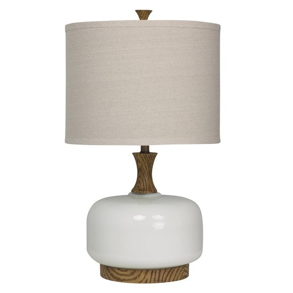 Chevelle Ceramic Natural Wood And White Table Lamp - Beige Hardback Fabric Shade