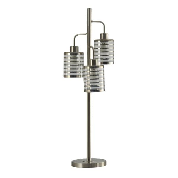 StyleCraft Contemporary Brushed Steel Table Lamp - Silver And Clear Glass Shade