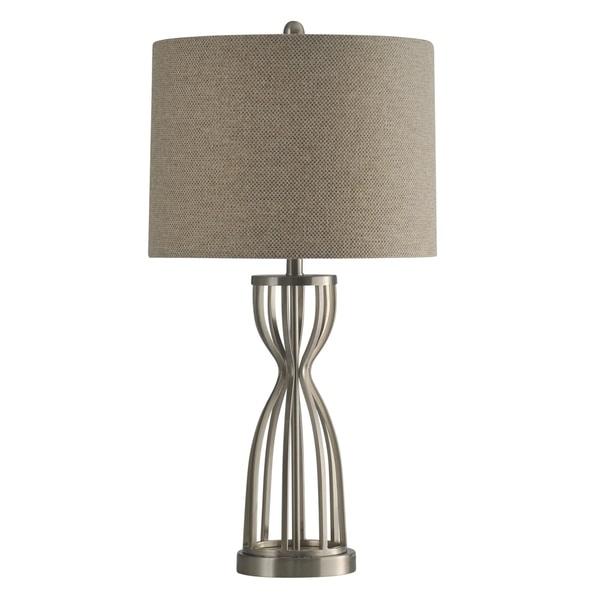 StyleCraft Brushed Steel Table Lamp - Beige Hardback Fabric Shade