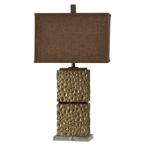 Altamont Contemporary Tan Table Lamp - Brown Hardback Fabric Shade