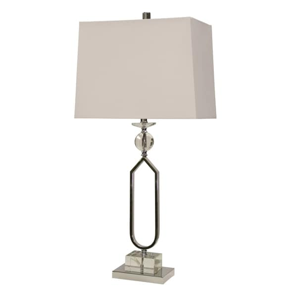 StyleCraft Chrome Accent Table Lamp - White Hardback Fabric Shade
