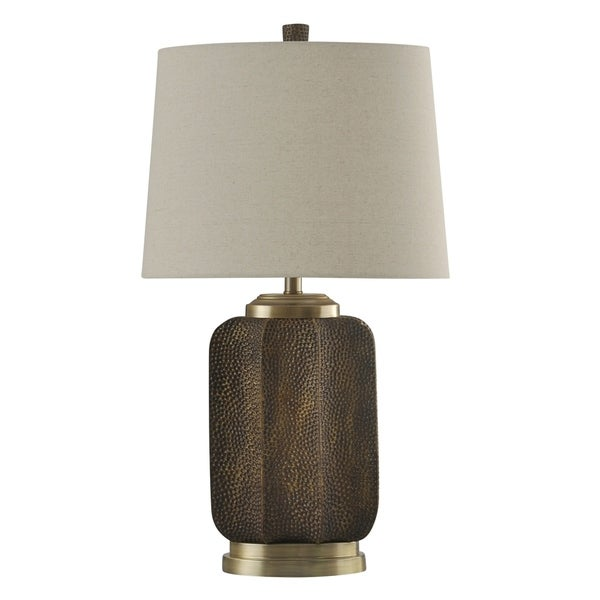 StyleCraft Strausburg Transitional Steel and Resin Brown Table Lamp - Cream Hardback Fabric Shade