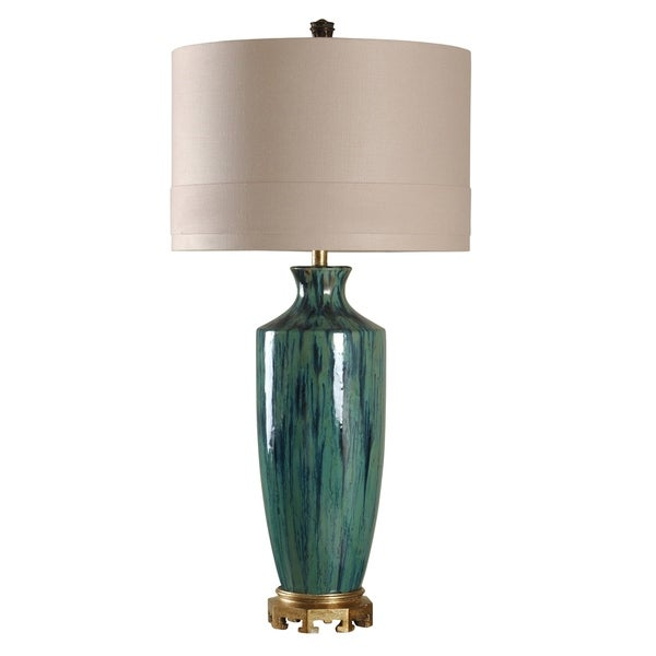 StyleCraft Cobourg Ceramic Blue Glaze And Gold Table Lamp - Beige Hardback Fabric Shade
